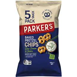 Parker's Baked Pretzels Chips Sour Cream & Chives 25g x5 pack