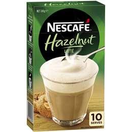 Nescafe Coffee Mixer Sachets Latte Hazelnut 10 pack