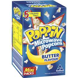 Poppin Microwave Popcorn Butter Flavour Mini Packs 25g x5 pack