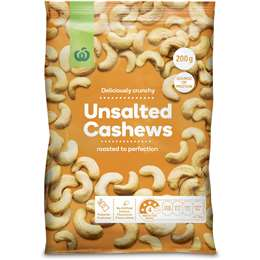 Woolworths Unsalted Cashews 200g