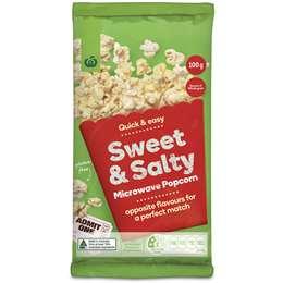 Woolworths Sweet & Salty Microwave Popcorn 100g