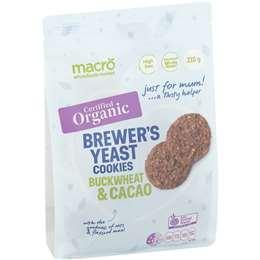Macro Organic Brewers Yeast Cookies Buckwheat & Cacao 210g
