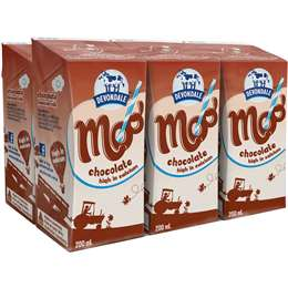 Devondale Moo Chocolate Milk 6x200ml