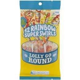 Lolly Go Round Round Rainbow Swirl Pops  144g