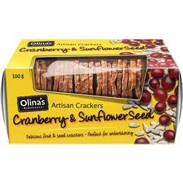 Olina's Artisan Crackers Cranberry & Sunflower Seed 100g