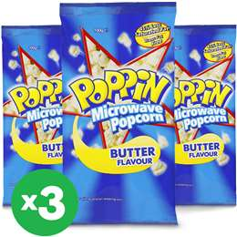 Poppin Microwave Popcorn Butter Flavour 100g X 3 Bundle