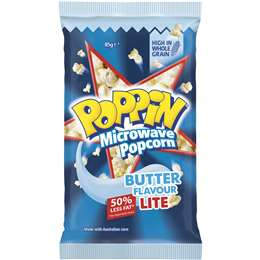 Poppin Microwave Popcorn Lite Butter Flavour 85g