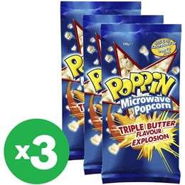 Poppin Microwave Popcorn Triple Butter Flavour100g X 3 Bundle