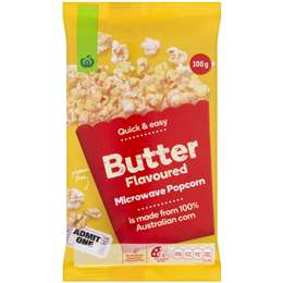 Woolworths Microwave Popcorn Butter Flavoured 100g