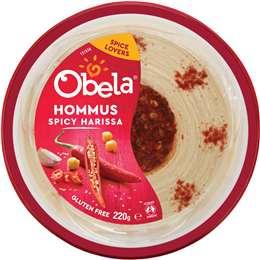 Obela Spicy Harissa Garnished Hommus 220g