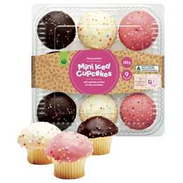 Woolworths Cup Cake Mini Iced 9 pack