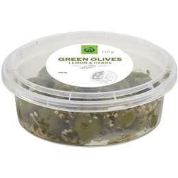 Woolworths Green Olives With Lemon & Herbs 110g