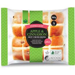 Woolworths Indulgent Apple & Cinnamon Hot Cross Buns 4 pack
